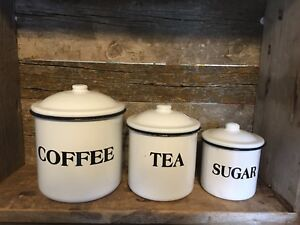 SET-OF-3-ENAMEL-CANISTERS-COFFEE-TEA-SUGAR-Farmhouse-Primitive-Style-NEW