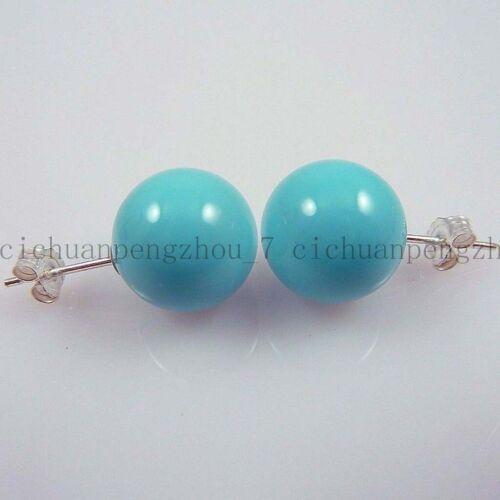 Pretty 8//10//12mm bleu turquoise South Sea Shell Pearl Argent Clous D/'Oreilles