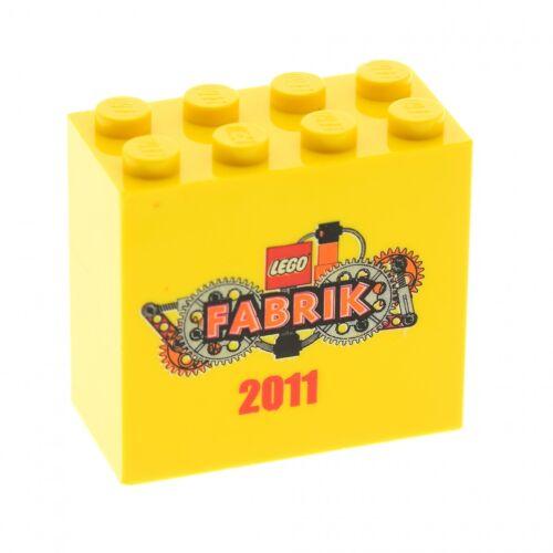 1 x Lego Bau Stein gelb 2x4x3 bedruckt LEGO Fabrik 2011 Motivstein 30144pb095