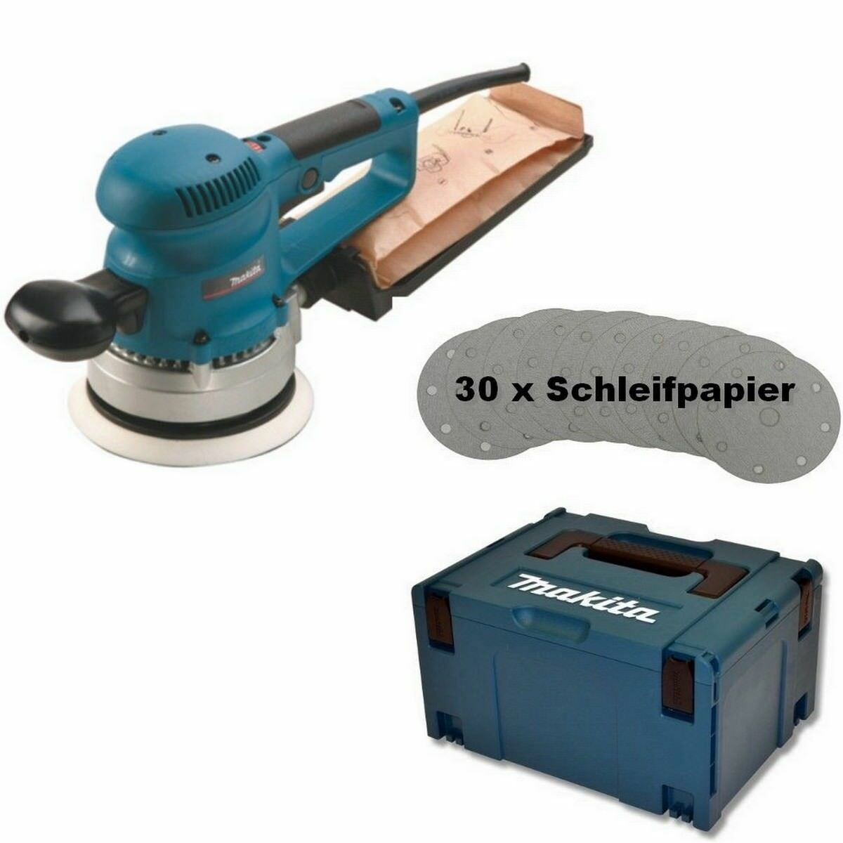 Makita Exzenterschleifer BO6030JX 150 mm inkl. 30 tlg. Schleifpapier-Set Makpac