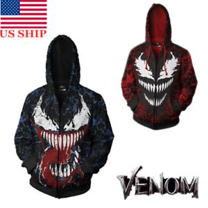 US-Men-039-s-3D-Spider-Venom-Carnage-Halloween-Cosplay-Hoodie-Sweatshirt-Jacket-Coat