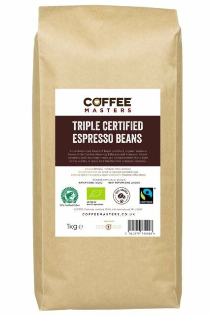 Coffee Masters Triple Certified, Organic, Fairtrade, Arabica Coffee Beans 1kg