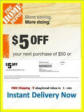 ONE ~1x~ Home Depot Coupon $5 OFF $50 In-Store-Only ~~ lNSTANT~FAST~SENT-1min