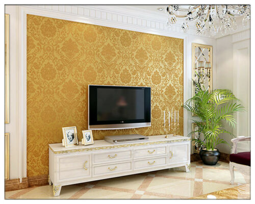 WALL PAPER WALLPAPER ROLL DAMASK EMBOSSED FEATURE 3D TEXTURED GOLD SILVER BEIGE
