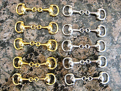 10 pcs-Gold Plated Equestrian Snaffle Horse Bit Charm Wholesale Hi Quality DIY