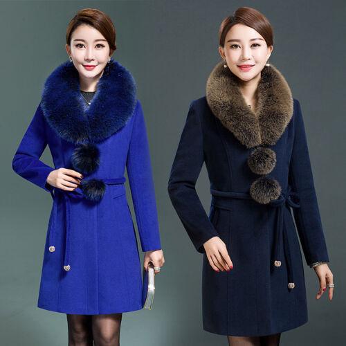 collo cashmere donne giacche lunghe overcoat outwear coat in grandi trench di pelliccia Nuove Fx1EHYwqq