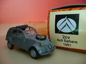 NOREV-CITROEN-2CV-4x4-SAHARA-1961-gris-fonce-capote-grise-echelle-1-43