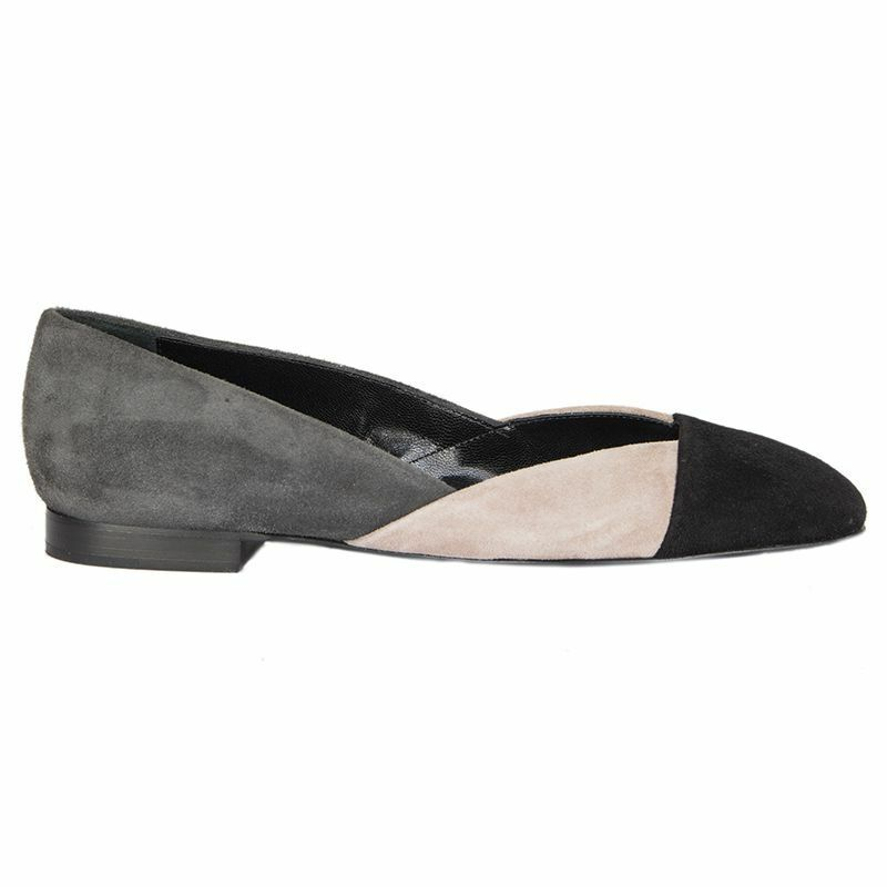 54920 auth HERMES grey pink black suede leather Ballet Flats shoes 36