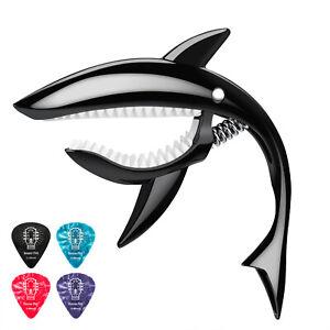 Donner-DC-4-Shark-Guitar-Capo-for-Guitar-Bass-Ukulele-Banjo-with-4-Guitar-Picks