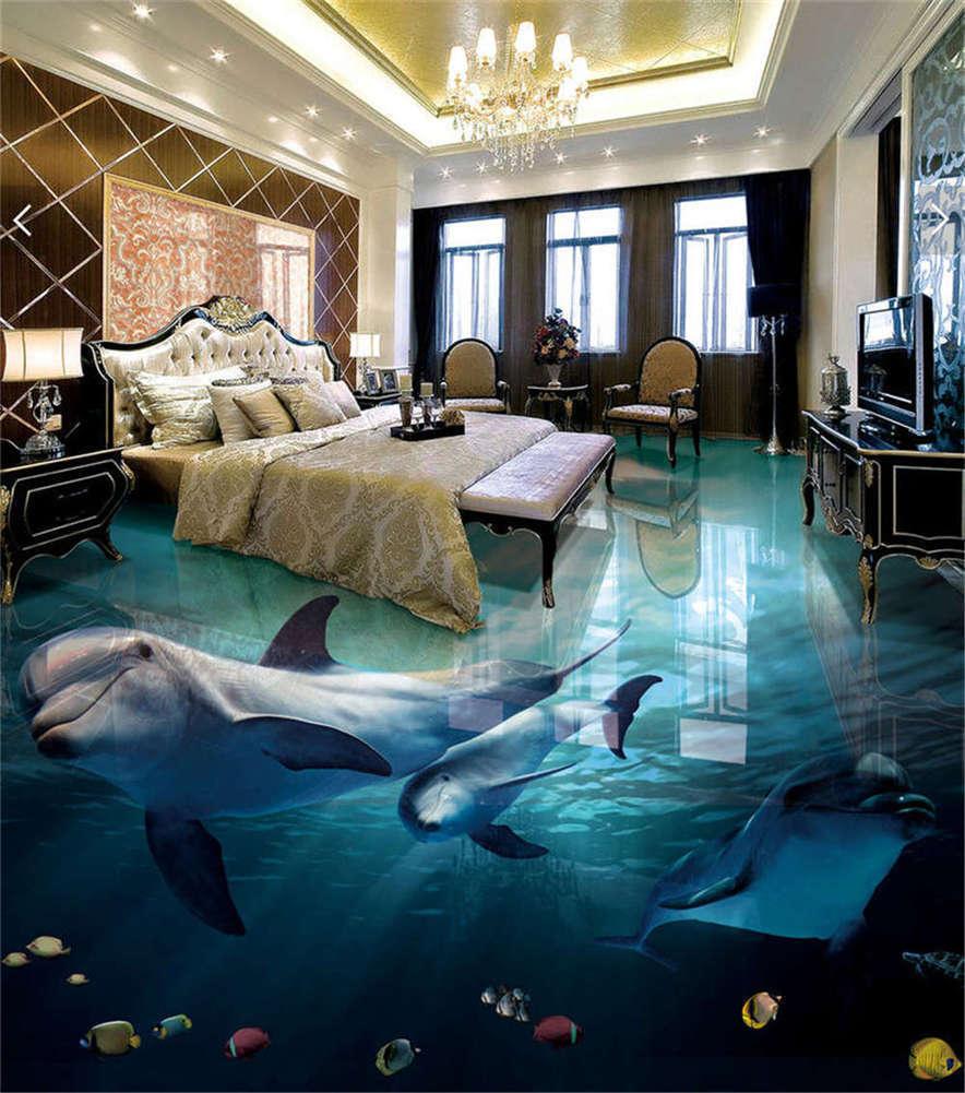 Dreamy Ocean World 3D Floor Mural Photo Flooring Wallpaper Home Print Decoration