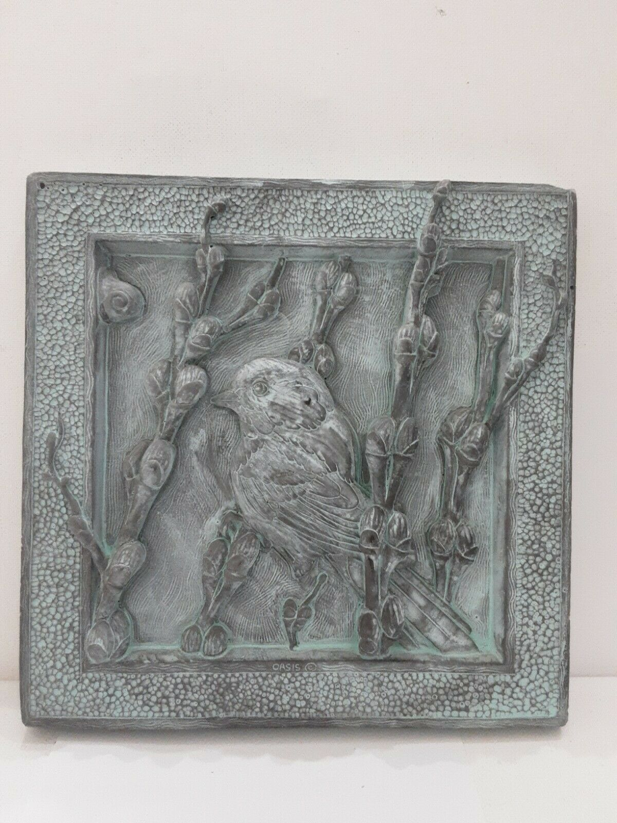 Handcrafted Bird Tile Art Stone Cast Garden Wall Plaque By George Shadford 1998
