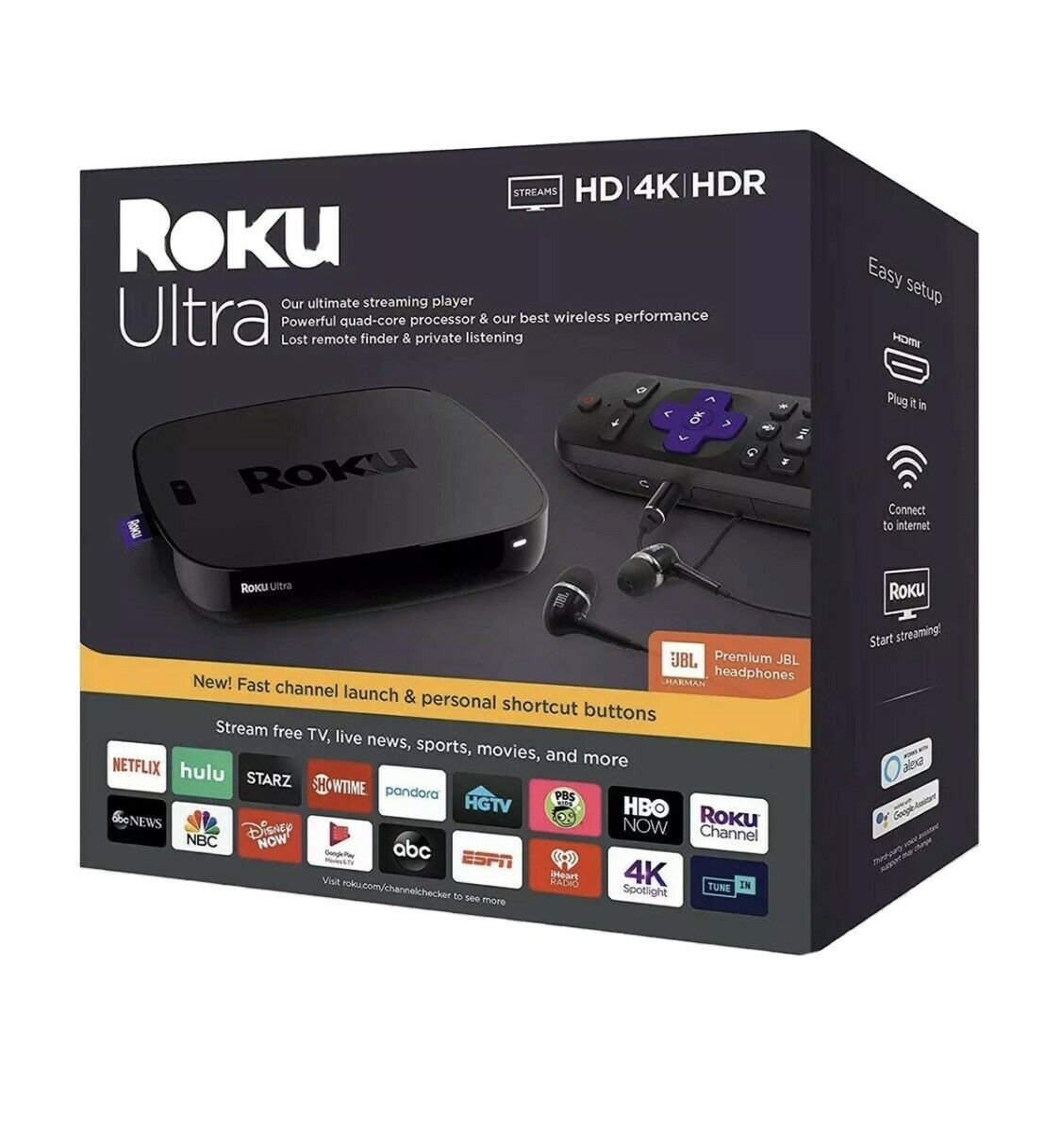 Roku Ultra 4K/HDR Streaming Player w/ Voice Remote & JBL Headphones headphones jbl player remote roku streaming ultra voice