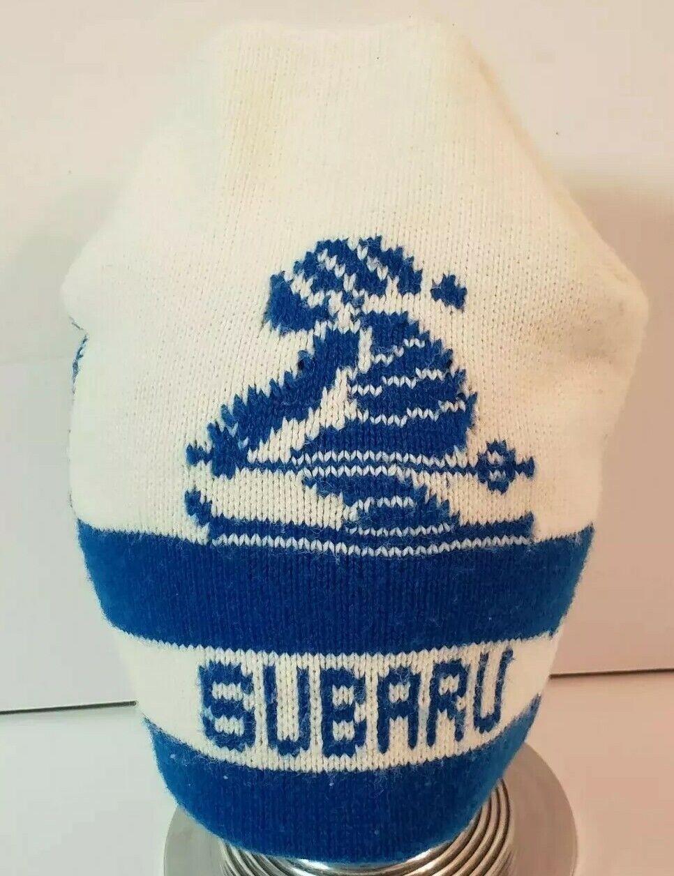 Subaru Vintage Rare Downhill Snow Ski Knit Hat White Blue Spellout