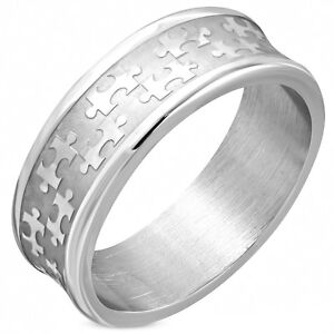 Puzzle Piece Autism Awareness Concave Stainless Steel Ring Sz 9 11