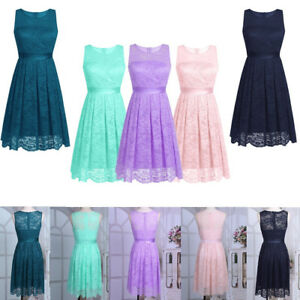 Womens-Short-Lace-Evening-Formal-Party-Cocktail-Bridesmaid-Prom-Ball-Gown-Dress