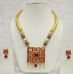 26e606de78427 Details about Babosa Sakhi High Quality Traditional Multi Color Hasli  Necklace Pendant Set HM3