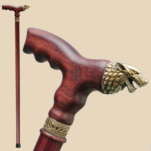 Brass Direwolf Wooden Walking Stick - Wolf Head Cane for Men Women Fashionable