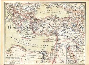 c-1890-TURKEY-OTTOMAN-EMPIRE-GREECE-CYPRUS-CRETE-RUSSIA-EGYPT-Antique-Map