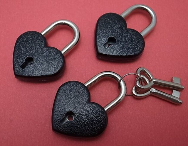 Antique Vintage Style Mini Padlock Key Lock Black Color  - 3 pcs