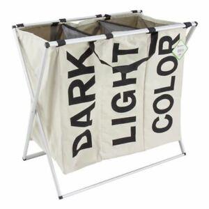 3 Section Laundry Sorter Hamper Clothes Storage Basket Large Dirty Washing Bag