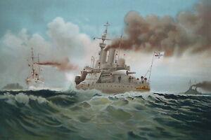 GERMAN-NAVY-H-M-Battleship-Aegir-amp-Cruiser-Gefion-1899-SUPERB-Color-Print