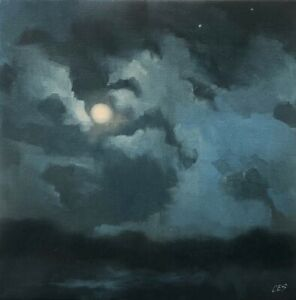 Full Moon Landscape Painting Original Oil Blue Clouds Night CES NFAC Nocturne