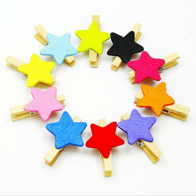 50 Pcs Colored Star Mini Wooden Craft Clips Card Photo Paper Peg Pin Clothespin