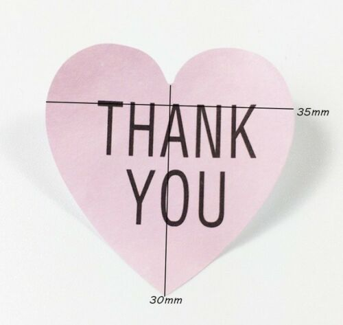 Heart Paper Labels /'THANK YOU/' Gift Craft Stickers Seals PINK With BLACK Text