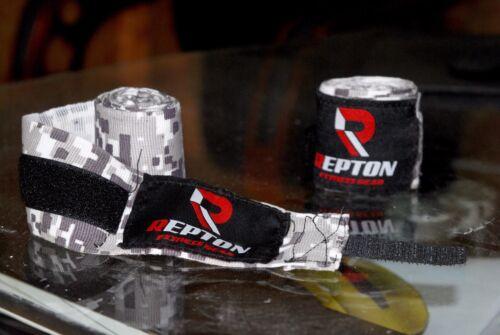 Repton Bianco Grigio Camouflage BOXING HAND WRAPS//MUAY THAI MMA Bendaggio 4 M