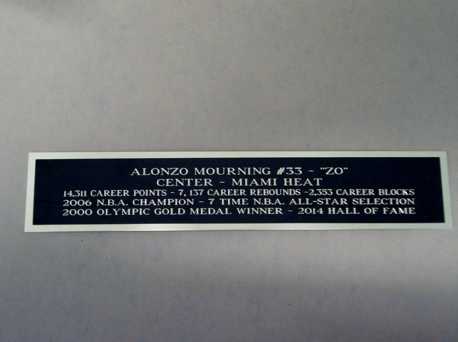 0672d1a70 Basketball Display Case With an Alonzo Mourning Miami Heat Nameplate
