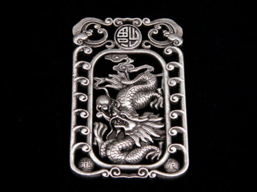 Tibetan Silver Highly Detail Crafted Pendant Zodiac Dragon w// Bats Blessing FU