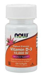 NOW Foods Vitamina D3 10.000 IU , 10000 UI - 120 / 240 Softgels