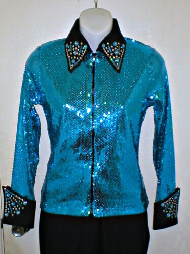 Rodeo Pleasure Queen,Glamour Shirt Womens Turquois Sequin Western Rail Trail