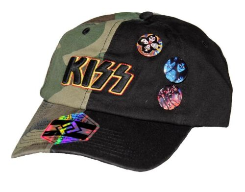 NEW KISS Band Strap Back Hat Half Black Half Camo 3 Pins Embroidered Patch Logo