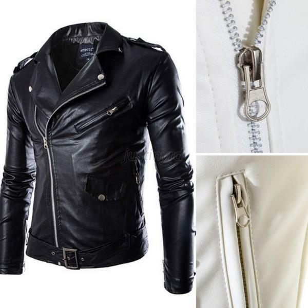 Winter Mens Slim PU Leather Biker Overcoat Jacket Motorcycle Coat Outwear J79