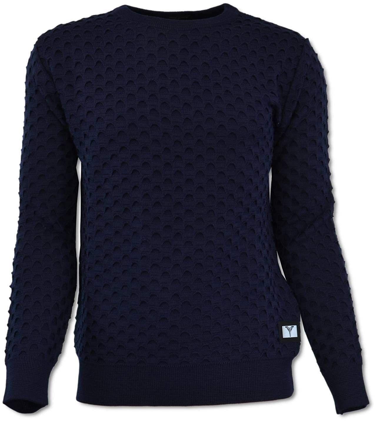 Carlo Colucci Herren  Rundhals Pullover Pulli mit All-Over Jaquard, Navy M,XL,XX