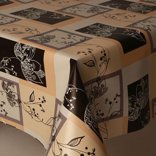 STENCIL FLOWER BOX BLACK WHITE BEIGE PLAIN FLOWERS PVC PLASTIC VINYL TABLE CLOTH