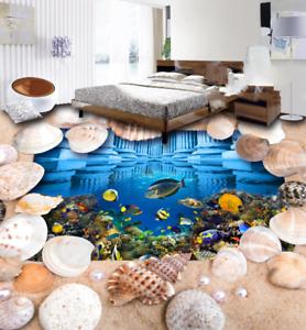 3D Shell Tropical Fish 7 Floor WallPaper Murals Wall Print Decal AJ WALLPAPER US