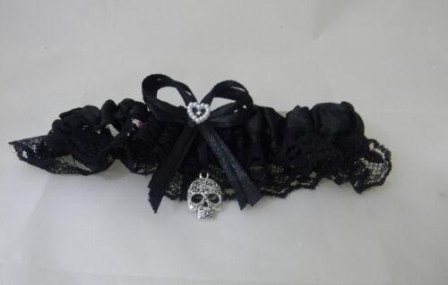 Wedding Party Ceremony Garter Wicca Flur Wedding Gothic Skull Black Satin /& Lace