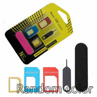 KIT 5 EN 1 ADAPTATEUR CARTE SIM - MICRO - NANO SIM IPHONE SAMSUNG TELEPHONE +CLE