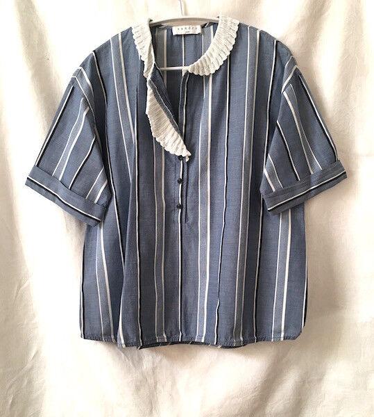 Sandro 14 Top Fine Cotton Blau Grünical Stripe Viscose Lace Collar Fab