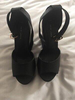New Look de Mujer Tamaño Sandalias Tacones Negro UK 4/37 euros