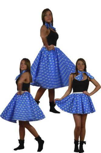 Blue White Spot Rock N Roll Skirt /& Scarf Set 1950s 1960s Fancy Dress