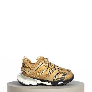 BALENCIAGA-895-Track-Sneaker-in-gold-white-and-black-mesh-and-nylon