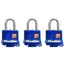 "NEW MASTER LOCK 312TRI PACK 3 LAMINATED STEEL KEYED PADLOCK 3/8"" X 1"" 6739890"