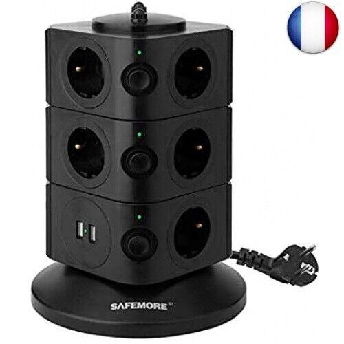 Safe-10-4-black DoubleYI Tour Multiprise Parasurtenseur Parafoudre 11 Prises