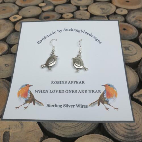 Robin pendientes de plata esterlina con alambres de oreja