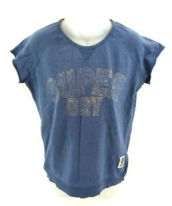 SUPERDRY-Womens-Jumper-Sweater-Short-Sleeve-M-Medium-Blue-Cotton