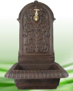 Wandbrunnen Gußeisen rustikal braun H.65cm Becken Metall Messing Wasserhahn