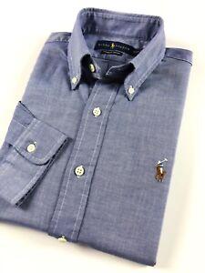 Ralph-Lauren-Men-039-s-Shirt-Blue-Chambray-Oxford-Standard-Fit-Long-Sleeve